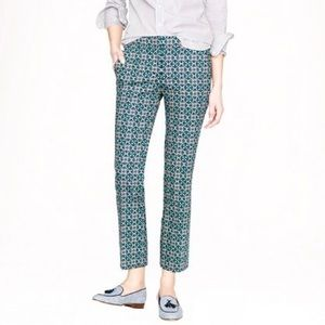 J. Crew Pink & Green Lattice Print Crop Ankle Pant